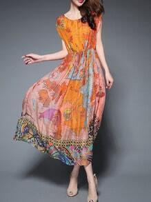 Orange Round Neck Sleeveless Map Print Dress