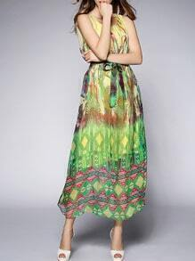 Multicolor Round Neck Sleeveless Tie-Waist Print Dress