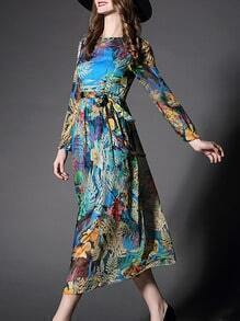 Multicolor Round Neck Long Sleeve Tie-Waist Print Dress