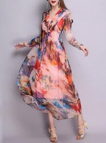 Multicolor V Neck Long Sleeve Print Maxi Dress