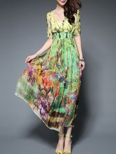 Multicolor V Neck Half Sleeve Print Maxi Dress