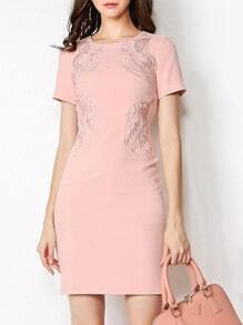 Pink Round Neck Short Sleeve Embroidered Bodycon Dress
