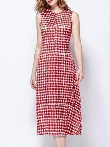 Red Round Neck Sleeveless Check Print Dress