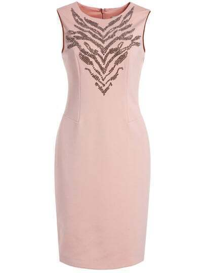 Pink Round Neck Sleeveless Sequined Bodycon Dress