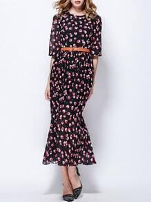 Black Round Neck Half Sleeve Drawstring Print Dress