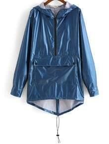 Hooded Dip Hem Zipper Coat