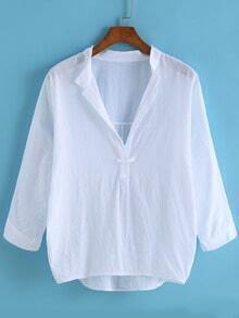 V Neck Dip Hem White Blouse