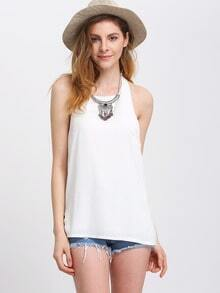 Halter Backless White Tank Top