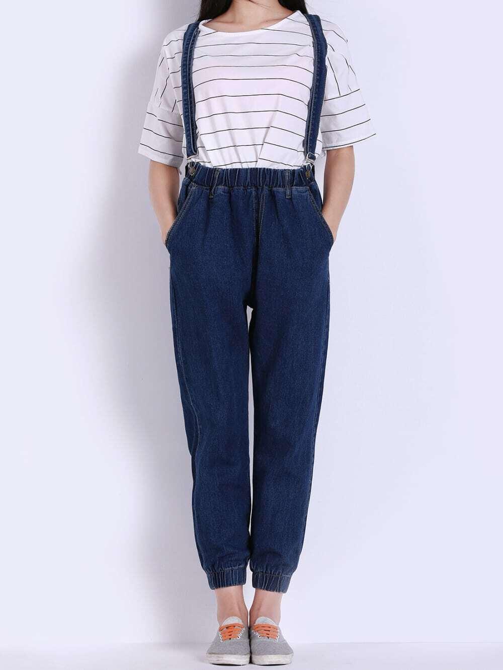 Strap Elastic Waist With Pockets Denim Jumpsuit