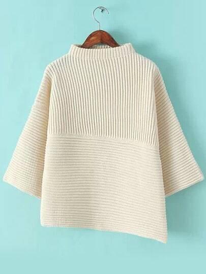 Beige Stand Collar Asymmetrical Knit Sweater