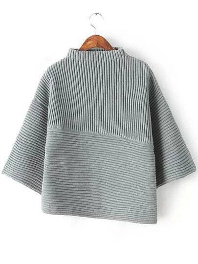 Grey Stand Collar Asymmetrical Knit Sweater