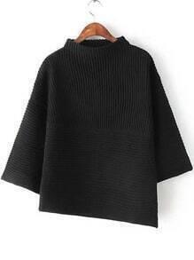 Black Stand Collar Asymmetrical Knit Sweater