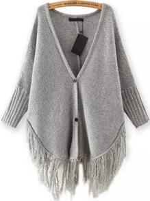 Grey V Neck Buttons Knit Tassel Cardigan