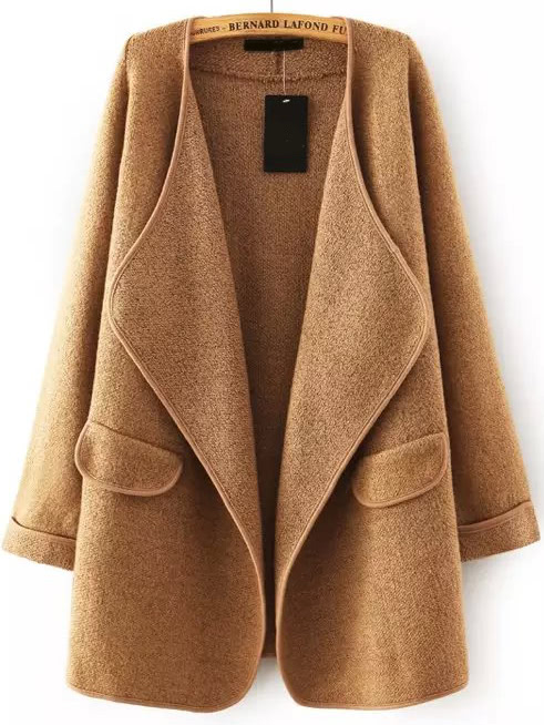 Khaki Lapel Long Sleeve Loose Sweater Coat -SheIn(Sheinside)