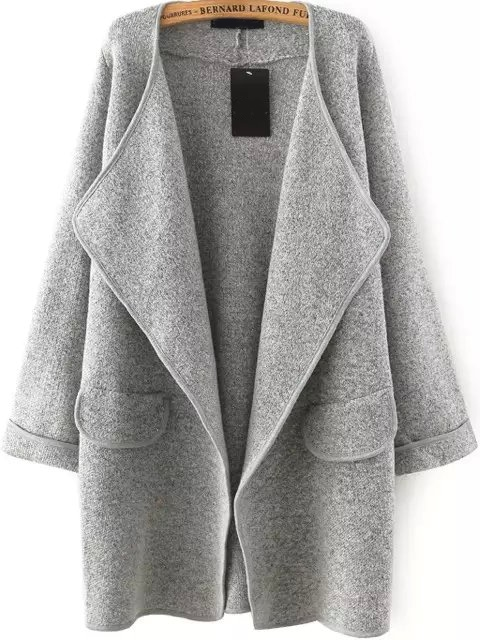 Grey Lapel Long Sleeve Loose Sweater Coat grey loose plunge lantern sleeve pullover sweater