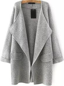 Sweater Mantel Langarm Revers-grau