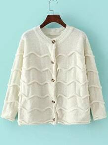 Beige Long Sleeve Zigzag Buttons Cardigan