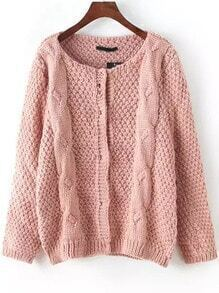 Pink Round Neck Cable Knit Cardigan