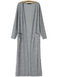 Grey Long Sleeve Pockets Casual Cardigan