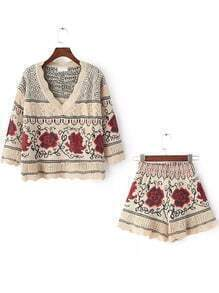 Red Apricot V Neck Floral Sweater With Shorts