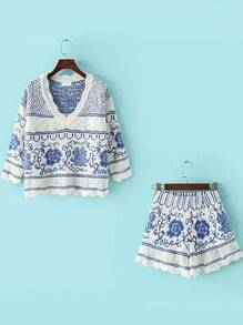 Blue White V Neck Floral Sweater With Shorts