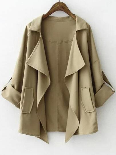 Khaki Casual Pockets Loose Trench Coat