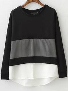Black White Round Neck Loose Sweatshirt