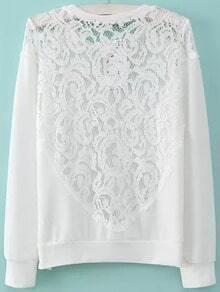 White Round Neck Lace Loose Sweatshirt