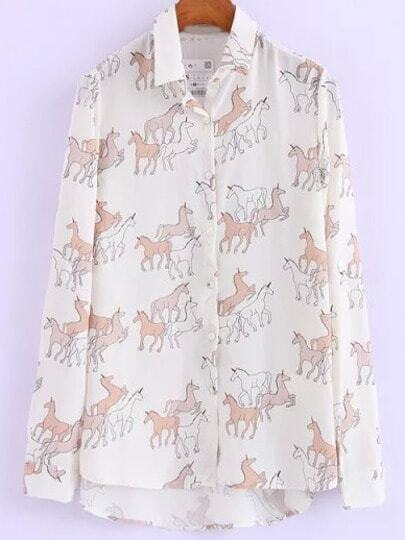 White Lapel Unicorn Print Dip Hem Blouse