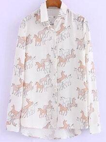 White Lapel Unicorn Print Dip Hem Blouse