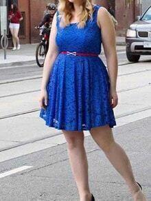 Blue Sleeveless Pleated Plus Dress