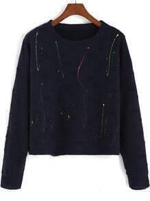 Navy Round Neck Ripped Crop Sweatshirt