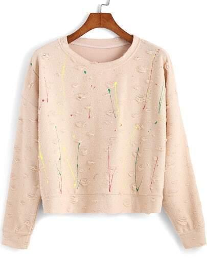 Apricot Round Neck Ripped Crop Sweatshirt
