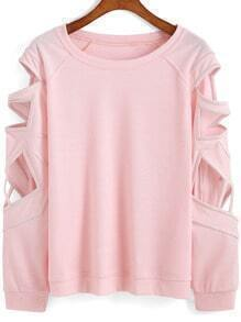 Pink Round Neck Hollow Loose Sweatshirt