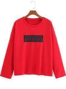Red Round Neck SOLDOUT Print Sweatshirt