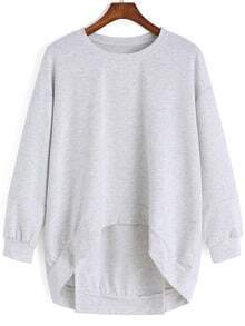 Grey Round Neck Dip Hem Loose Sweatshirt