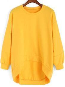 Yellow Round Neck Dip Hem Loose Sweatshirt