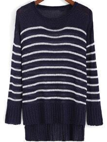 Navy Round Neck Striped Loose Sweater