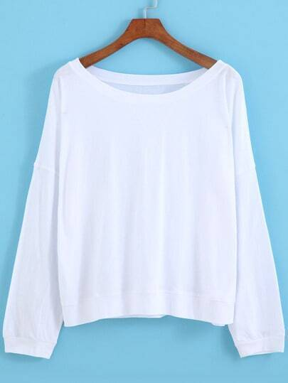 White Round Neck Batwing Sleeve Loose T-Shirt