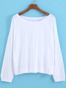 White Round Neck Batwing Sleeve Loose T-Shirt