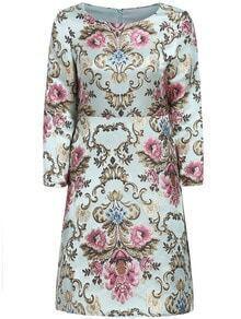 Multicolor Round Neck Floral Jacquard Dress