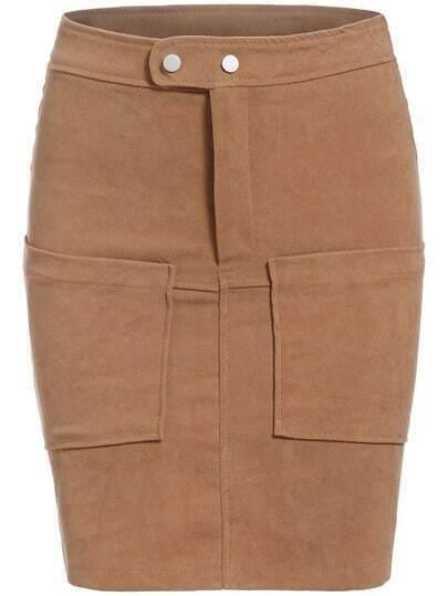 Khaki Casual Pockets Bodycon Skirt