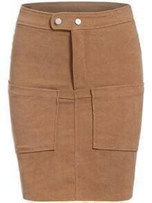 Khaki Casual Pockets Bodycon Skirt