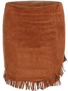 Khaki Slim Tassel Bodycon Skirt