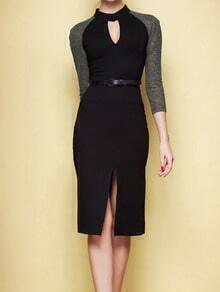 Black Round Neck Hollow Split Bodycon Dress