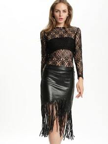 Black Slim Tassel PU Skirt