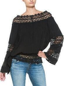Black Boat Neck Hollow Loose Blouse