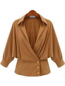 Khaki Lapel Long Sleeve Buttons Blouse