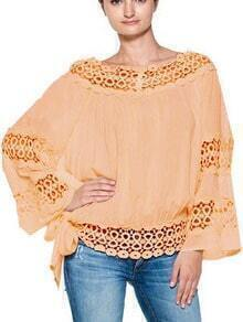 Apricot Boat Neck Hollow Loose Blouse