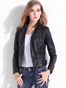 Black Stand Collar Oblique Zipper PU Jacket